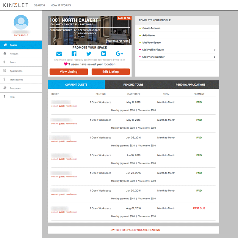 Host Dashboard 1